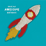 Awesome Rocket Birthday Sequin Card - Redback Cards