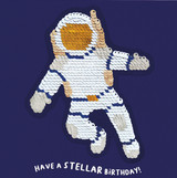 Stellar Spaceman Birthday Card Sequin Card - Redback Cards