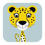 Cheetah Wobbly Eyes Childrens Greeting Card - Stripey Cats
