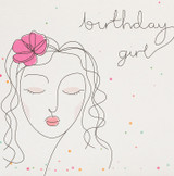 Birthday Girl Flowers Greeting Card   Belly Button Design