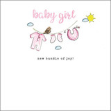 Hand Finished New Baby Girl Card