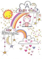 Bird on Swing New Baby Card - Rachel Ellen