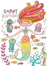 Birthday Mermaid Birthday Cards Kids - Rachel Ellen