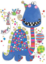 Blue Dinosaur Birthday Cards Kids - Rachel Ellen