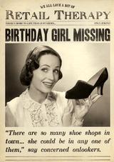 Birhtday Gir Missing Birthday Card Fleet Street - Pigment Productions