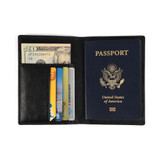 Faux Leather RFID Passport Holder and Wallet - Black