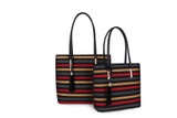Set of Two Striped Travel Tote Hand Bags