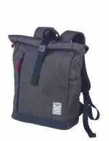 Troika Business Laptop Roll top Backpack with Metal Buckle Closure