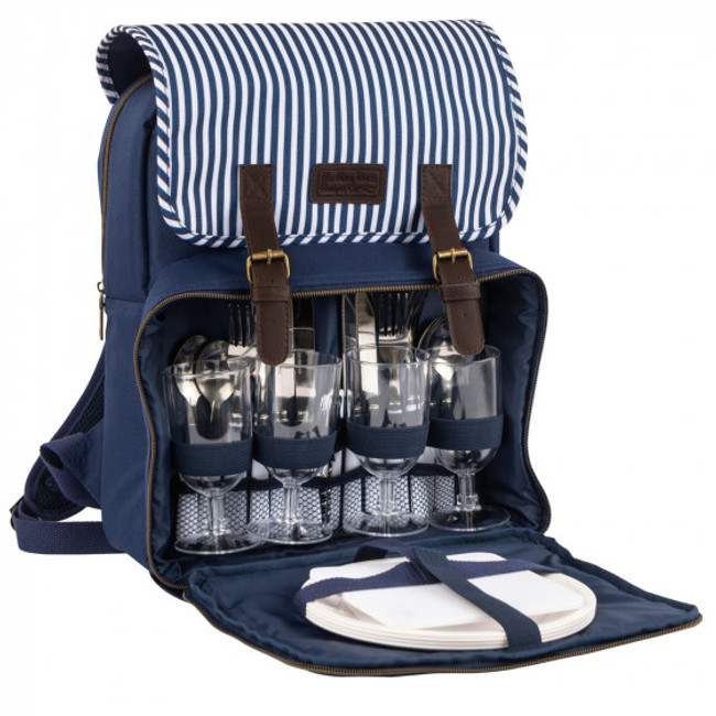 Three Rivers  Navy/White Picnic Backpack - 4 person