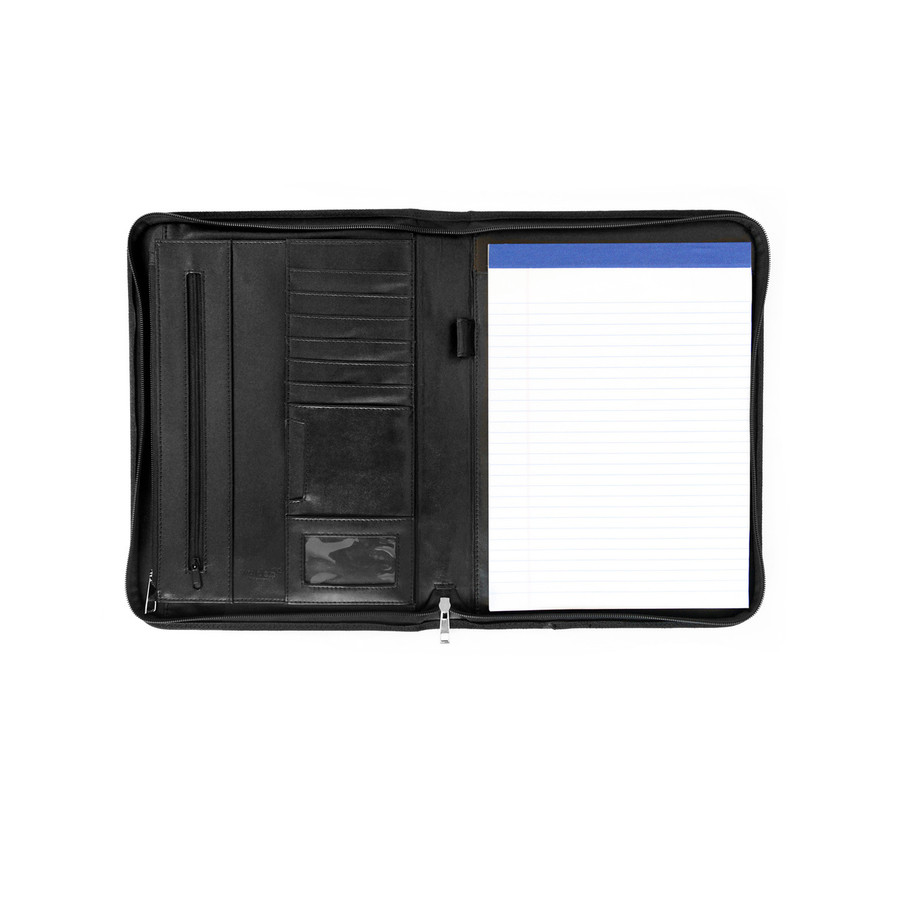 Faux Leather Padfolio A4 Travel Document Organiser - Black