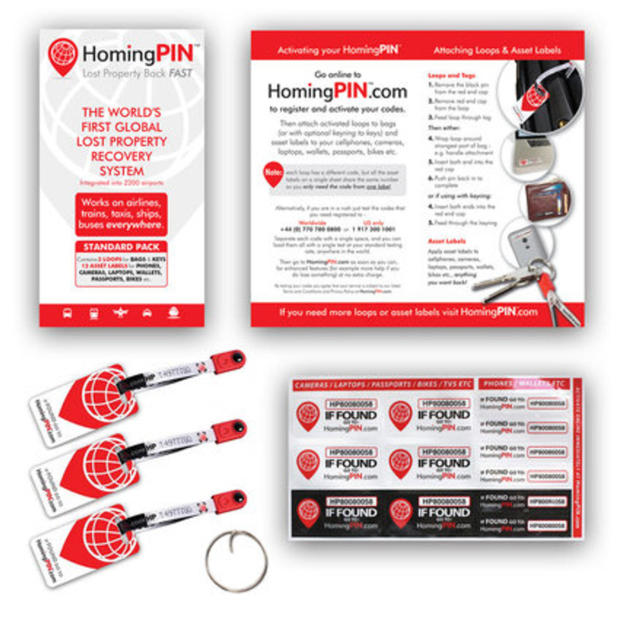 HomingPIN Standard Pack for Lost Luggage