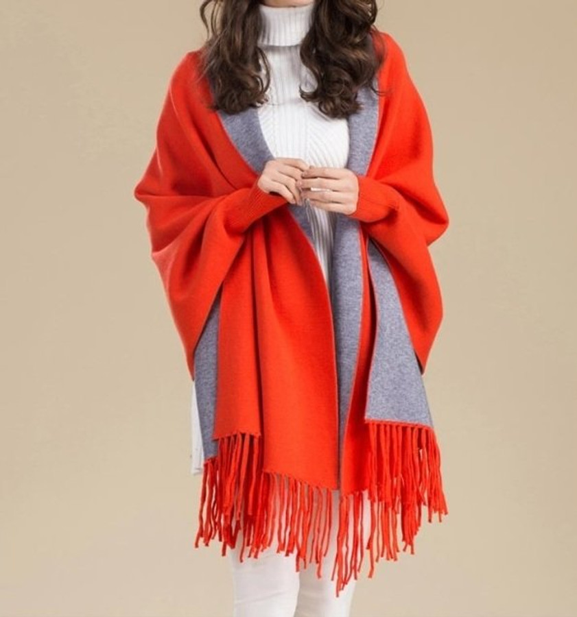 Ladies' Reversible Travel Wrap/Cape with Sleeves