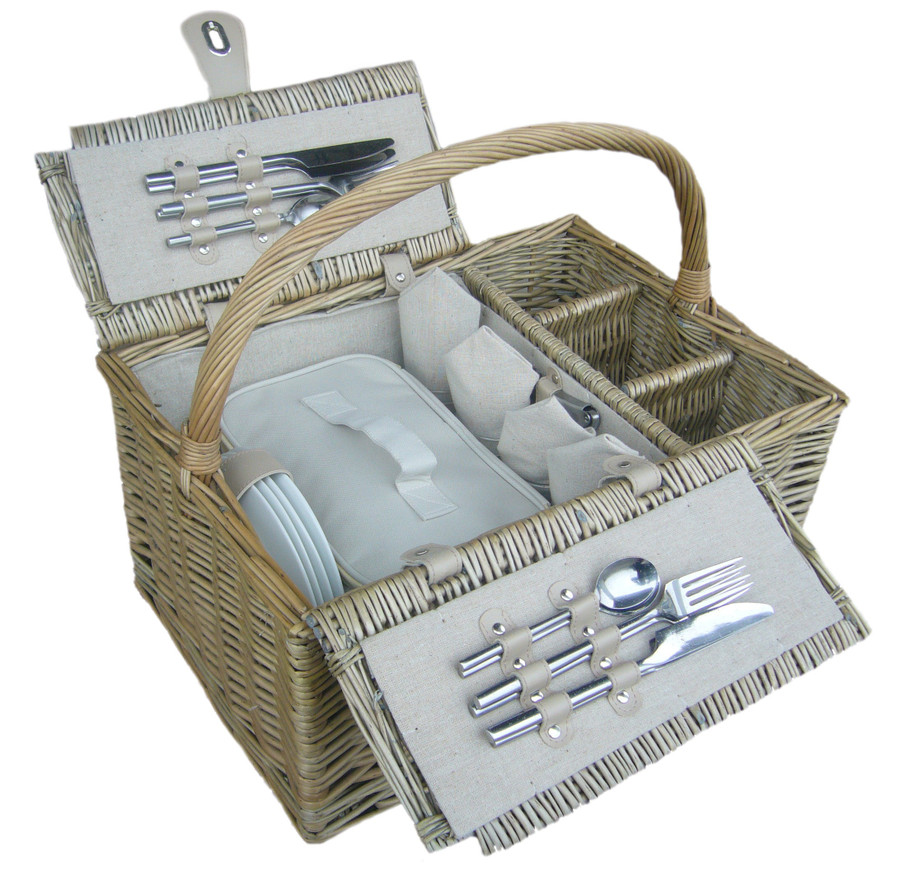 Antique Wash 4 Person Picnic Basket Hamper with Cooler Bag