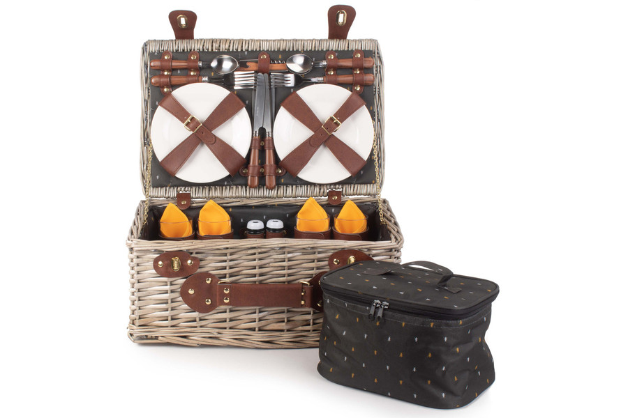 Wicker Picnic Basket Hamper with removable Cooler Bag - 2 Person