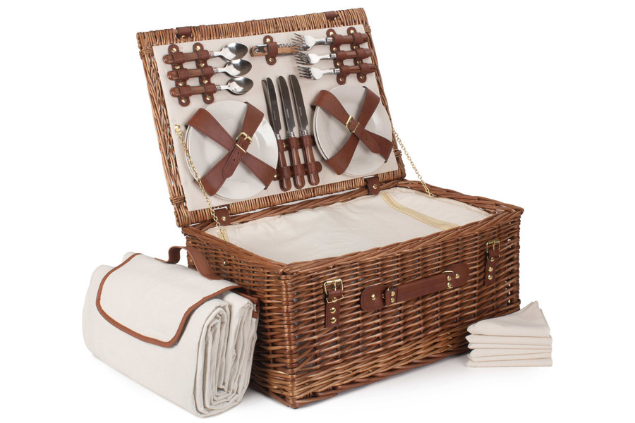 Classic Willow Picnic Basket Hamper with Blanket - 6 person