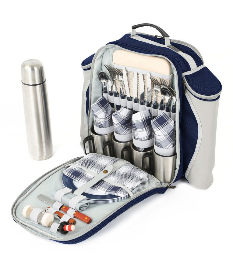Greenfield Collection Super Deluxe Picnic Backpack Hamper for 4 People - Navy