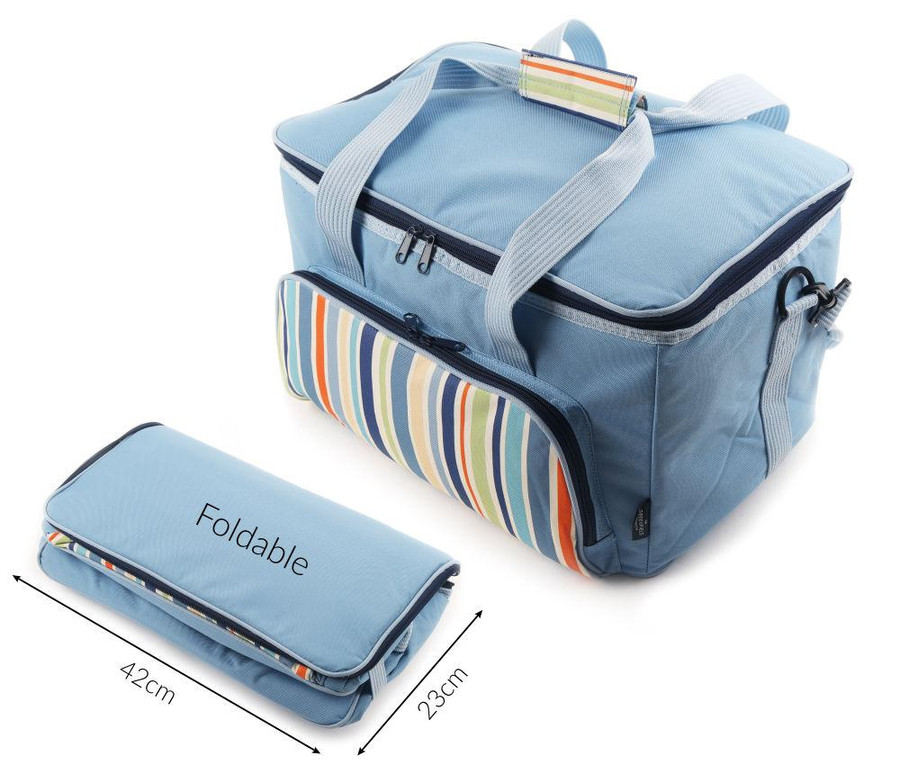 Greenfield Collection Foldable Family Picnic Cool Bag 30L - Sky Blue