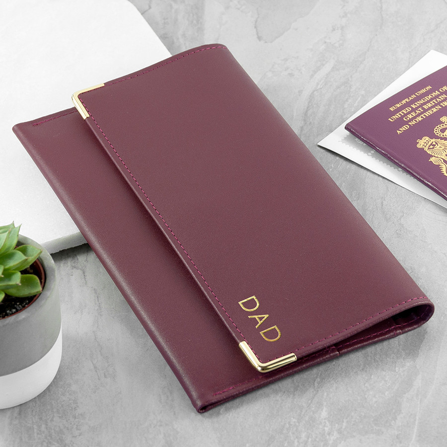 Personalised Leather Travel Organizer Wallet