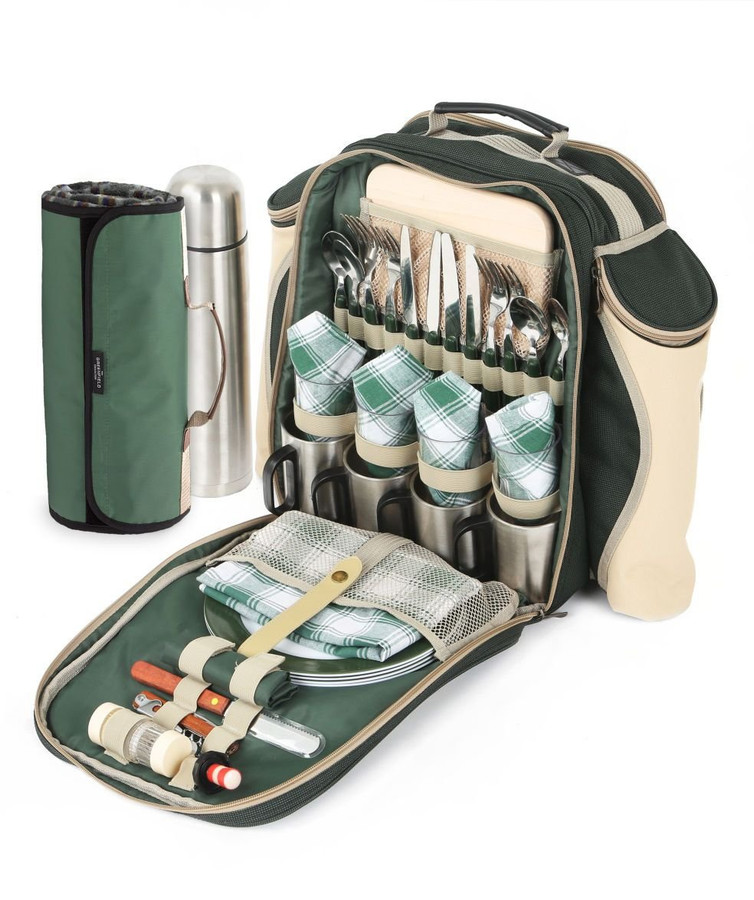 Greenfield Collection Super Deluxe Picnic Backpack Hamper with Blanket - 4 people