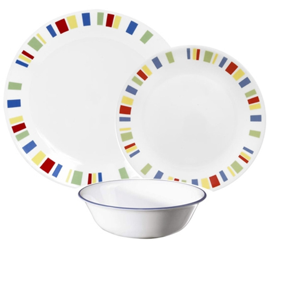 Corelle Memphis 12pc Lightweight Dinner Plate Set for Picnics and Home