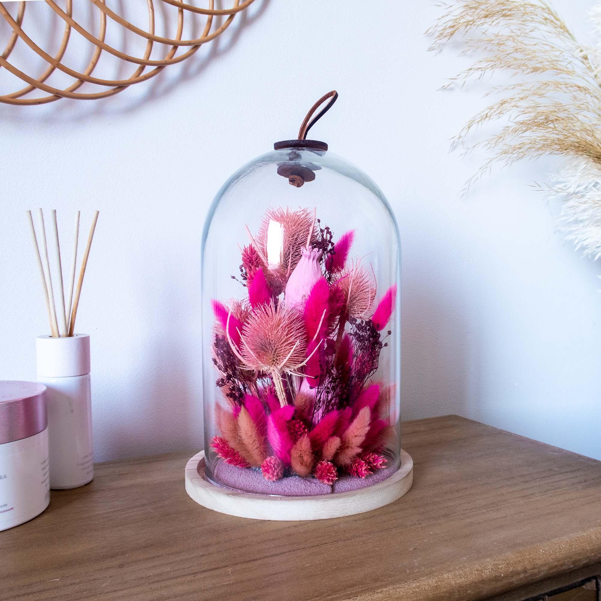 Cloche de fleurs séchées fuchsia, rose pale