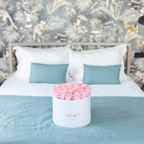 Boite à fleurs de roses éternelles roses pâles