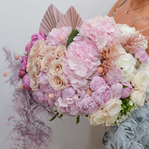 Bouquet de fleurs XXL dégradé de rose