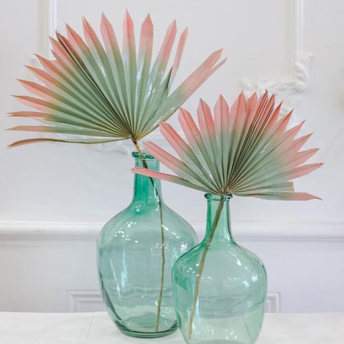 Palmes séchées naturelles Luna bicolores rose pâle et vert d'eau.