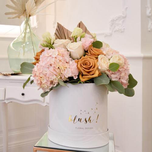 floralbox roma boite à fleurs rose pale et caramel