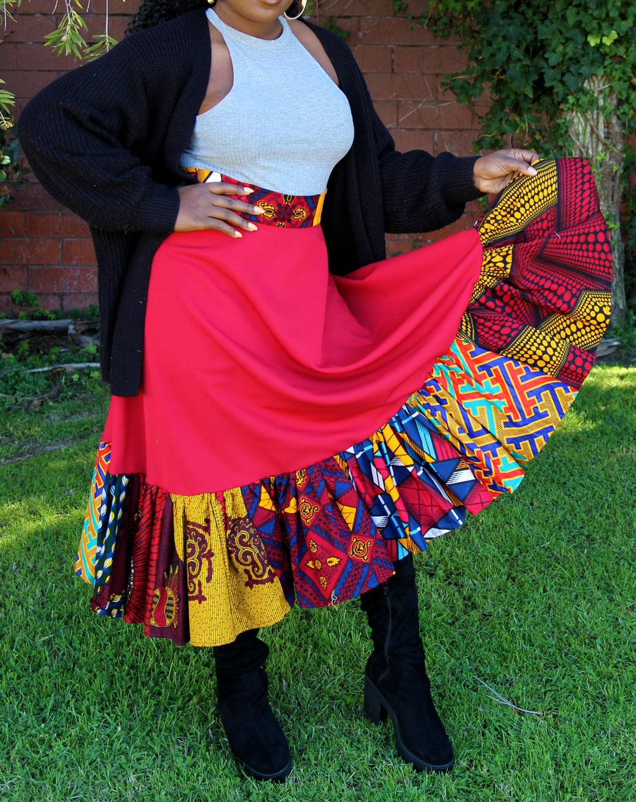 Menogu Red Mixed Print Skirt