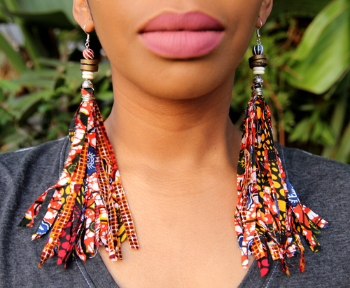 Red Ankara Tassel Earrings