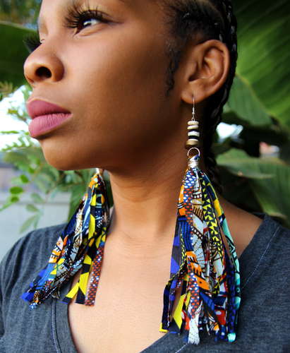 Blue Ankara Tassel Earrings