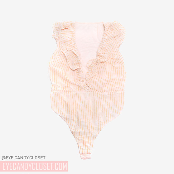 1 Piece Deep V-Plunge Neckline Teddy with Madeline Teddy Ruffle Detail On Front Shimmering Gold Stripes Mesh Back with Thong Cut Bottom