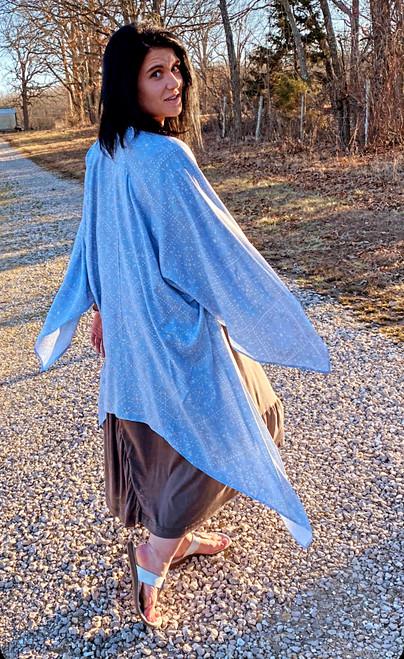 Blue spring  kimono