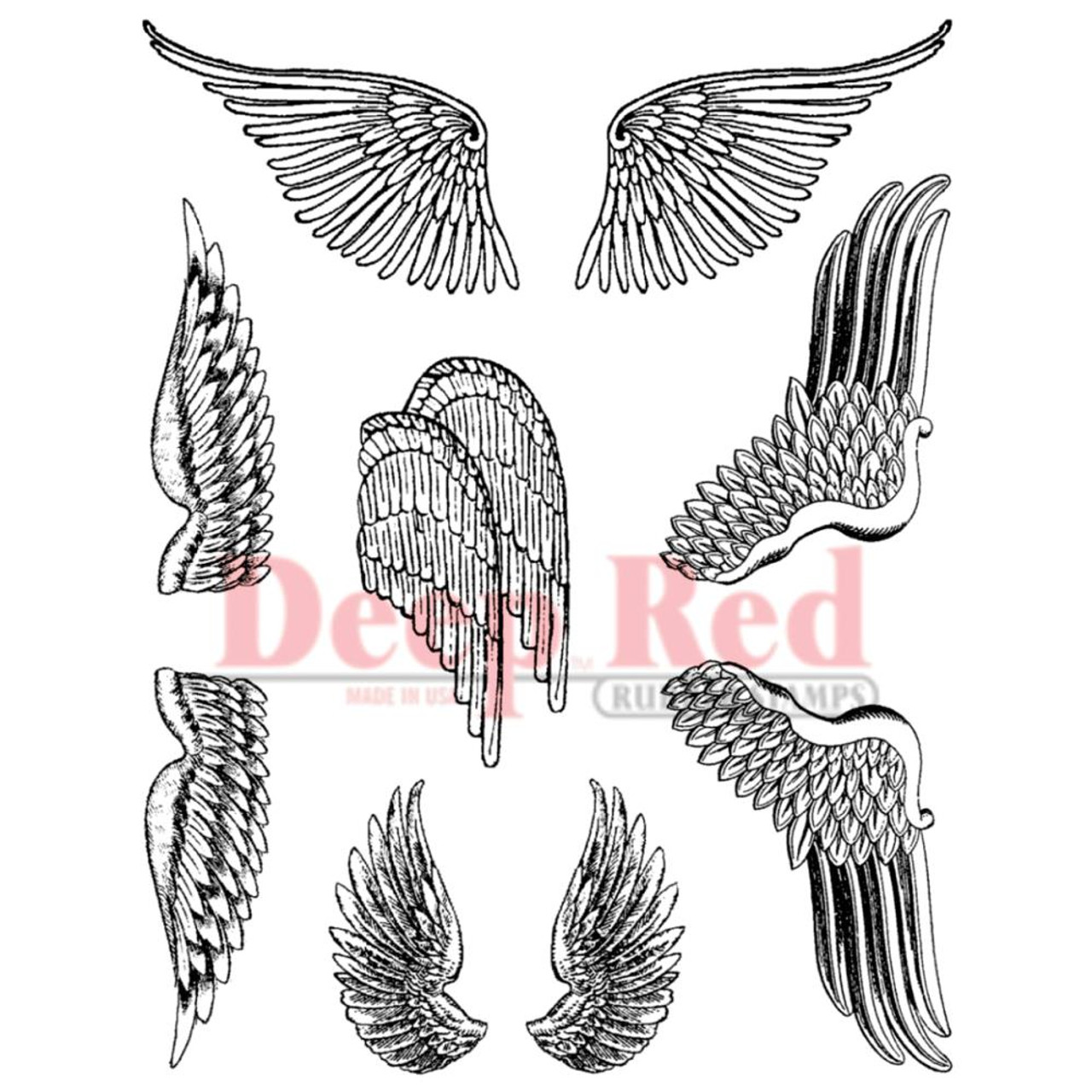 Angel Feathered StudioLight Basic Clear Stamps Wings Feathers