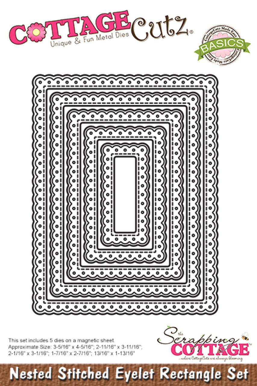 CottageCutz Nested Dies 5//Pkg-Stitched Eyelet Square