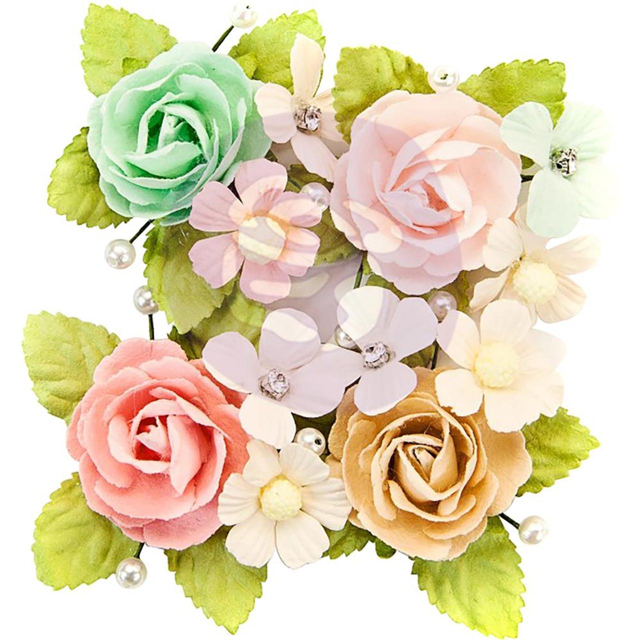 Prima Marketing Misty Rose Mulberry Paper Flowers 4pkg Paxton