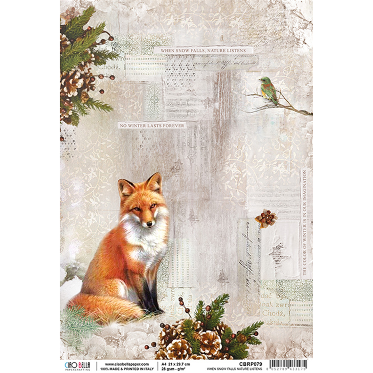 Ciao Bella Rice Paper Sheet A4 Sound Of Winter When Show Falls Scrapbooking Made Simple