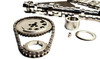 * Induction-hardened steel billet gears for durability * Infinitely adjustable camshaft sprocket, 6-degree maximum advance or retard * 3-keyway crank sprocket for additional 4-degree incremental adjustability * Pre-stretched, heat-treated double roller chain with heavy-duty large pin design * Includes Torrington roller thrust bearing for reduced friction