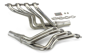 "Want to make the best power with headroom? Get your F-body rolling with these beautiful stainless headers. We now offer the 1 7/8"" long-tube header in stainless steel specifically for this LS swap. These headers feature 3/8"" flanges and very smooths bends that create a great raw stainless look. The 304 Stainless steel ensures maintenance-free longevity. The long-tubes feature a slip-fit collector that when used with stainless steel band clamps offer the best ground clearance in the industry. The collector merge-spike increases power in both the long-tube application. They include gaskets, bolts, and O2 sensor bungs."