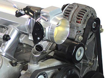 Here is a great replacement for the truck intake! Save money, stuff your truck motor under the hood of your car without having to go to a more expensive car-style intake. This intake allows you to continue using the truck accessories.    Not only do you gain underhood room, but you gain some HP as well. Another beautiful thing: this intake comes complete with 92mm throttle body, fuel rails, braided connecting hose, fittings, throttle cable, cable bracket, and all gaskets and hardware