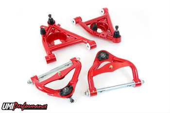Control Arm Style: Tubular Cross Shaft Length (in): 14.210 in. Cross Pin Material: Chromoly Ball Joint Included: Yes Adjustable: No Hardware Included: No Control Arm Material: Steel Control Arm Finish: Red powdercoated Bushings Included: Yes Bushing Material: Delrin Quantity: Sold as a kit. Notes: Ball joints are 1/2 in. taller than standard height ball joints.