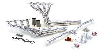 "Hello LSx Guys! Get your B-Body on the road daily - get your project on the road with this swap kit!  1971-1976 B-Body LS Conversion Kit  This swap kit is for the 1965-1970 Impala, Biscayne, Bel Air and Delray. It was designed around our LH8 oil pan kit. The frame brackets bolt into existing holes in the frame so you know the engine will have clearance for accessory drives, factory AC box, power brake booster, and aftermarket suspension components. Unlike others, our kit positions the engine so there is no steering interference and maintains the proper drive-line angle for smooth highway cruising. We offer a complete line of Muscle Rods headers that give unparalleled performance and ground clearance with sizes that are matched to your engine combo. These combined parts offer an easy, strong, and clean installation of your LS engine. See our installation guides for more info on this LS swap. Free Shipping in CONUS!     This kit includes the following:   Mount and Crossmember Kit  Includes motor mounts, frame brackets, transmission crossmember, transmission mount, and hardware.  Manufactured from the highest grade American made steel. They're laser cut, precision bent, powder coated and feature polyurethane bushings.  Comes with a lifetime free replacement warranty on the bushings.    Oil Pan kit  Built to our specs by Moroso, the pan works with strokes up to 4.125"" and retains the OEM oil filter location. The high-clearance pan kit includes the pickup tube, gasket, hardware and our exclusive pickup-tube girdle. The GM LH8 Muscle Car pan can also be used with this conversion, but please be aware the sump will extend below the front crossmember approximately 1 to 1-1/2 inches. For this reason our high-clearance pan is a must for any vehicle that has been lowered.     Oil Pump Pickup Tube Girdle  Original GM oil pickup tubes are fastened to the pump with only one bolt with a tear drop shaped mating flange on the tube. There is another threaded bolt hole on the other side that is not used. Our Girdle is cnc machined aluminum and goes over the original mating flange, wraps around the tube, and fastens using both bolt holes. Use with a little Locktight and it's cheap insurance against an engine meltdown. It comes with two longer bolt for install.  2013-tube-girdle-sm.jpg  ----------------------------------------------------------------------------------------------------------------------------------------------  Optional LS Swap Headers (Pick Your Power)  These are not your average swap headers. These headers offer many feature that are normally only on custom race headers. We start with 3/8"" laser cut flanges with the tubes welded inside and out and then machined. The long tube headers feature bolt-on race inspired collectors for ease of installation and tuning of primary length. The mid-lengths use a gasket-less ball and socket type collector for a leak free install. They're ceramic coated inside and out to fight performance robbing underhood temperatures then polished for a long lasting show quality finish.  We offer several sizes of headers so you can match them to your engine combination. Our 1 ¾"" mid-length headers offer great ground clearance and support up to 500hp. Our 1 ¾"" long-tubes will support up to 600hp. For more than 600hp we offer 1 7/8"" long-tubes and for big cubic inch monster engines our 2"" is a perfect match. Our stepped headers offer great high rpm performance while retaining good low and mid-range power. They all include gaskets, bolts, reducers, and O2 sensor bungs.  This kit does not include headers. You can upgrade to headers based on your power goals, or come back to order them when you are further along. In either case, you cannot go wrong!"