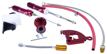 McLeod hydraulic throwout bearing conversion kits are designed to change over your cable-operated clutch to hydraulic power. They produce a softer pedal effort, giving you more manageable and smoother clutch operation. In addition, the kits are self-adjusting, eliminating difficult pedal adjustments. Also included are stainless steel braided hoses, steel fittings, an aluminum slave cylinder, and a remote reservoir. The McLeod hydraulic throwout bearing conversion kits use your stock pedal and mount through the firewall in the factory stock location.