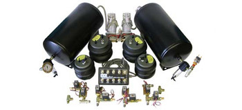 2-ViAir 380 Compressors, 2- 5 Gallon Tanks, 8- 1way 3/8 SMC Valves, 1- 150psi. Pressure Switch, 2- Glass Water Traps, 1- 10 Switch Pre-wired Box, 4- Air Bags, All Fittings and 60ft. Air Line