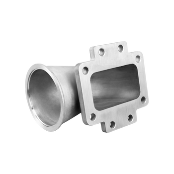 "304 SS T6 Turbo Elbow Adapter + 3.5"" V-band Kit T6 to 3.5"" V-Band, Comes with 3.5"" V-band Flange and Clamp  304 Stainless Steel Cast and Machined Adapter, with Tight Radius. Works for Many Turbo Applications. V-band Flange Allows Rotation of the Turbo At Any Angle. There Are Also 4 Extra Holes On the Flange to Support Heavy Weight (T6 Turbos Are Heavy)  -T6 Turbo Flange (to Turbo Side) -3.5"" Vband Flange (to Header/Manifold Side)  Product(s): Cast Elbow Adapter  3.5"" V-band Flange 3.5"" V-band Clamp"