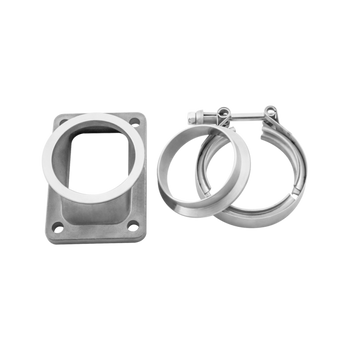 "304 Stainless Steel Turbo Flange Vband Adapter Kit  T6 to 3"" V-Band, with Matching Vband Flange and Clamp  304 Stainless Steel Cast and Machined Adapter, Low Profile 1.75"" Total Height, Works for Many Turbo Applications  Application(s): For Many Turbo Applications  Item(s) Included: - 1x Flange Adapter - 1x V-Band Clamp - 1x Flange Adapter"