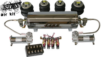 2- ViAir 444 Compressors, 1- 5 Gallon Chrome Tank (4- 1⁄2 Port), 8- 1way 3/8 SMC Valves, 1- 10 Switch Pre-wired Box, 2- Glass Water Traps, 1- Single Needle Pressure Gauge, 2- 5 Wire Locking Socket, 1- 16 Gauge Fuse Holder, 1- 5 Amp Fuse, 4- Air Bags, All Fittings and 60ft. Air Line.