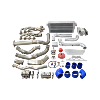 """Turbo & Intercooler Piping Kit For 2007-2014 Cadillac Escalade 6.2L V8 AWD & Other Trucks   Finally! You can boost your Chevy/GMC/Cadillac Truck or SUV! Make that human hauler SCOOT!     Big T76 Turbo Supports 600-700 HP Depends on Engine Build and Boost Level     60mm 12 PSI Wastegate     Big 4"""" Core Intercooler, with Aluminum Mounting Brackets, Perfect Fitment, No Cut     Mandrel Bent 3"""" Aluminum Piping Kit, with 50mm BOV     3"""" Stainless Steel Header Cross Pipe and Downpipe.   Items in the Kit  Turbo Manifold Downpipe Kit   Turbocharger   Oil Filter Sandwich and Oil Line Kit   Air Filter   60mm 12PSI V-band Wastegate   Set of V-band Clamp  Intercooler with Mounting Brackets   Piping Kit with Hoses and Clamps   BOV"""