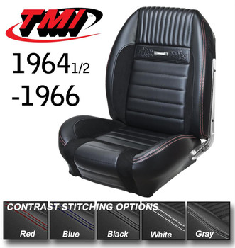 "Front Seat Type: Bucket   64-67 Mustang  Rear Seat Type: Bench     Cover Material: Vinyl     Cover Color: Black     Quantity: Sold as a set.     Notes: Features black suede inserts and red stitching.    TMI Deluxe Pony Sport R seat upholstery will make your heart gallop with excitement! The feel and look of premium vinyl with UniSuede inserts, contrasting stitching, the ""running ponies,"" and die-cast chrome plated seat buttons offer your beautiful classic Mustang modern, aggressive styling and comfort. These seats feature increased side and leg bolsters (foam required) that complete the ultra-sporty appeal of this upholstery. It fits on the factory frame and utilizes factory attachment points, so you'll be ready to ride off into the sunset in no time. Choose either front bucket seats or a full set with the back seat included. Give your classic a sporty update with TMI Deluxe Pony Sport R seat upholstery."